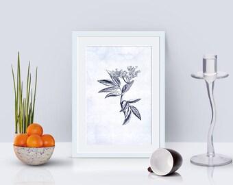 Elder leaf flower printable home decor, flower art, floral print, floral printable wall art, botanical print, nature poster, blue decor