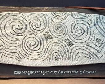 Newgrange Entrance Stone. Handmade from reclaimed slate.