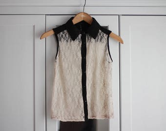 Vintage Lace Top Beige Black Vest Shirt Tank Top Collar Delicate Subtile Sleeveless Chic Boho Beach Summer Women Clothing / Extra Small Size