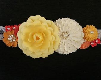 Rustic floral belt, bridal belt, bridal sash, bridesmaid belt, flowergirl belt, boho flower belt, maternity photo belt, maternity photo sash