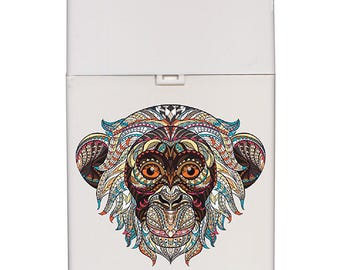Handmade custom plastic cigarette case box with personalized stylish pattern any text message chic logo monkey animals vintage design