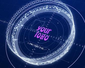 Video Intro or Outro, 3d fantasy logo hologram