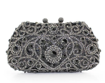 Glamorous black evening clutch bag with high quality  Crystals