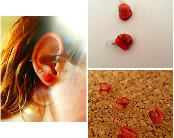 Bright Red Coral Stud Earing