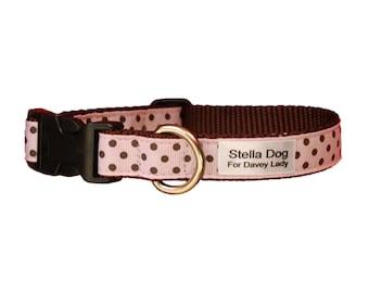 Pink Chocolate Polk Dot Collar *FREE SHIPPING*