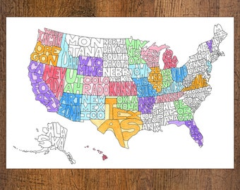 Color Your Own Map of America - Digital File