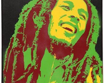 Portrait of Bob Marley. On canvas 41 x 33 cm