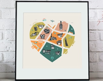 I love Didsbury, Manchester, A4 Square Prints, Illustration, Didsbury Life, East, West, Village, Manchester
