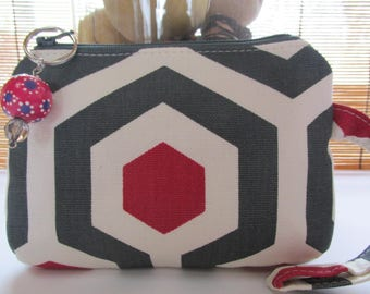 Small Red/Grey/White Zipper Coin Purse, Clutch, Wristlet, Pouch