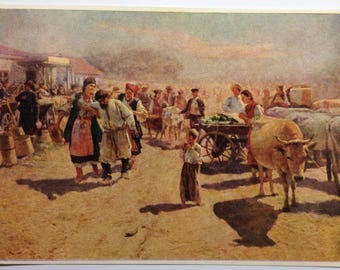 Vintage postcard Painting Artist Pimonenko (1862-1912) The Fair Ukraine 1898 Scrapbooking Vintage art Ukrainian Folklore