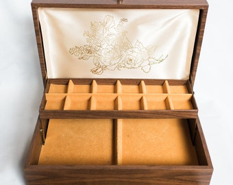 Vintage Faux Wood Jewelry Box w/ Mustard Yellow Interior & Floral Design Lining