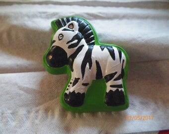 Zebra Hand-Painted Ceramic Magnet