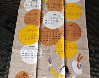 Vintage New Old Stock Linen Calendar Tea Towel 1959 Balloons