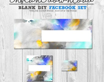 abstract watercolour facebook timeline, blank diy facebook page cover image, premade facebook banner set, pre-made fb timeline, timeline set