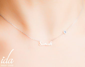 Custom Name Necklace - Sterling Silver Name Necklace - Personalized Choker - Personalized Jewelry - Birthstone Necklace - Bridesmaid Gift