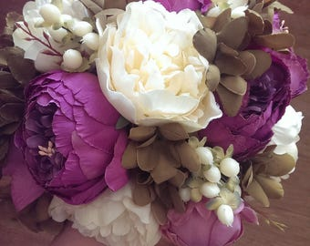 Peony Bouquet Plum and Cream