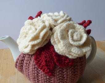 Flower teapot cosy/ Knitted teapot cosy/ Flowers/ Handmade teapot cozy/ Cottage