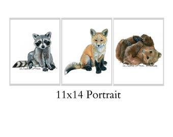 Set Of Three 11x14 Forest Animal Nursery Fine Art Prints - Automatic FREE Shipping - SKU108