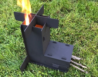 Rocket stove self feeding gravity feed design new improved for Portable rocket stove plans