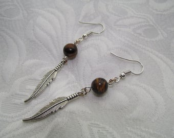 Tiger eye stone feather earrings