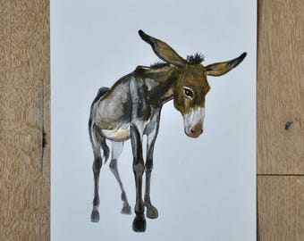 Donkey, donkey drawing, original artwork, animal art, nature wall art