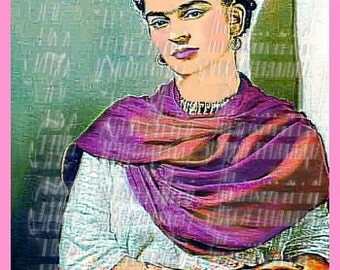 Quilting Fabric Block Applique Artist Frida Kahlo Altered Painting FK114