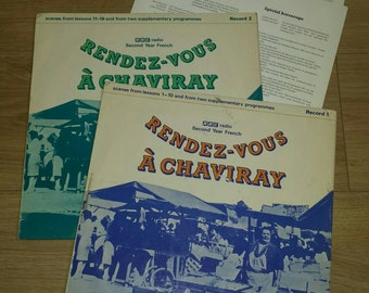 Vintage 1970s Pair of BBC Second Year French Language Course Records Rendez-vous A Chaviray