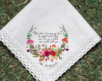 Wedding Handkerchief, Custom Lyrics, Groom Handkerchief, Bride Handkerchief, Mrs., Flower handkerchief, Printed Hankie, Hankie Gift- 70