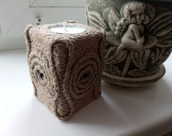 unique braided wooden candle holder in eco-style