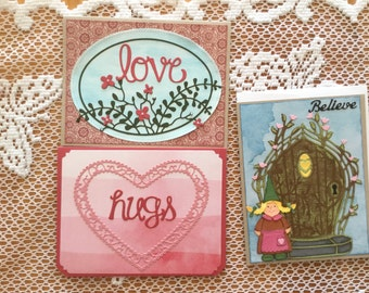 Set of 3 Blank greeting cards