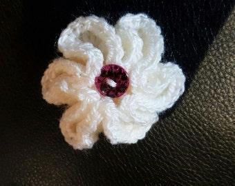Crocheted Kanzashi Flower hair clip