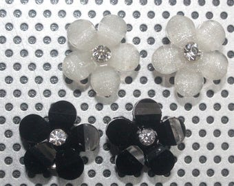 Black and White Flower Studs