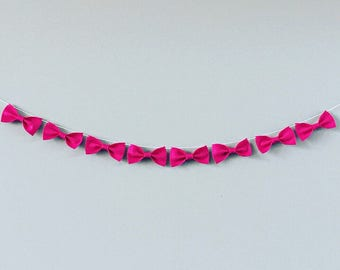 Pink Felt Bow Banner | Pink Bow Garland | Wall Art | Nursery Wall Hanging | Nursery Decor | Pink Felt Banner | Home Decor | Banners Garlands