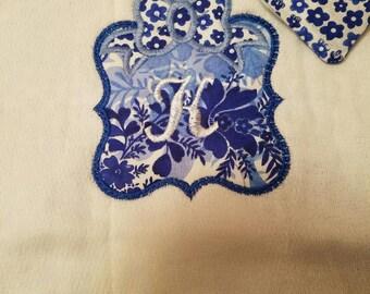 Blue Floral Monogrammed Burp Cloth