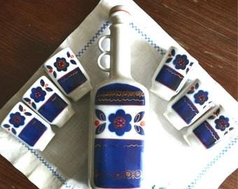 Porcelain Soviet Dekor.Vintage Soviet Decor.Made in the USSR.Soviet Decanter.Porcelain glasses.A set of wine glasses.A gift to father