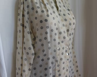 """Ann Taylor size 12 silk blouse with great 80s style. Black and gold dot pattern on cream. Like what Melanie Griffin wore in """"Working Girl"""""""