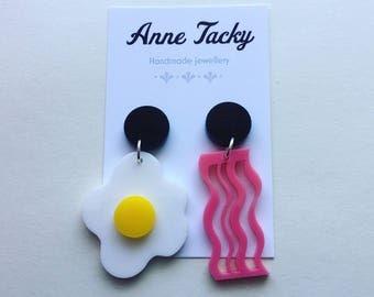 EGG & BACON earrings laser cut acrylic pink, black, white, yellow dangle earrings tacky festival wear kitsch retro style 6cm