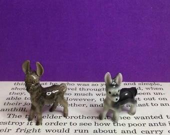 Set of 2 Vintage Hagen Renaker Miniature Ceramic Donkey, Burro