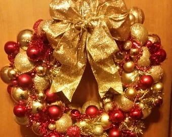 Christmas Ornament Wreath, Holiday Wreath, Ornament Tinsel Wreath, Made to Order