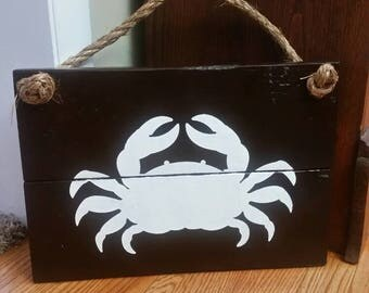 Wooden Crab Sign -  Crab, Maryland, Rope, Wood Sign