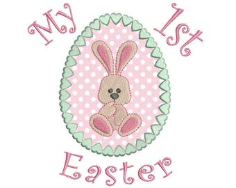 Bunny Easter Egg Applique Embroidery Design, My 1st Easter Machine Embroidery, 4x4, 5x7, 6x10, Instant Download Design No: FA550-1