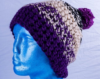 Purple floppy bobble hat