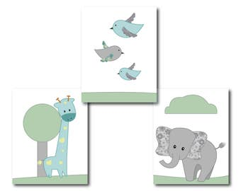 30% OFF Baby Boy Nursery, Art Print Nursery, Kids Wall Décor, Baby Room Décor, Kids Art , Elephant Nursery Print set of 3