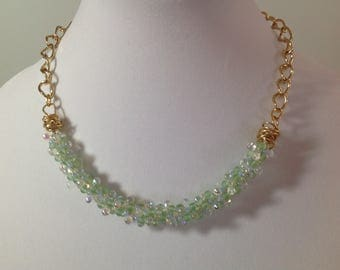 Kumihimo Green Beaded Necklace