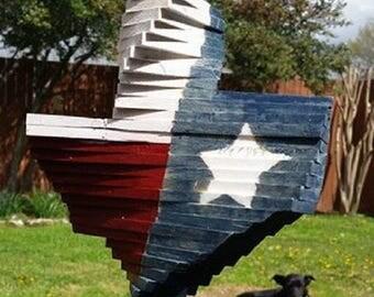 Texas flag reclaimed wood wind spinner Texas shape