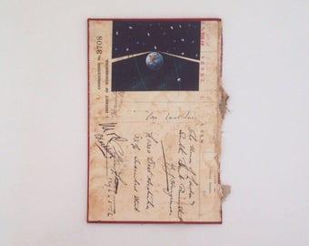 Solar system bill // original collage on book cover art // retro vintage mixed media UK seller