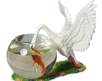 Decorative Glass Fish Bowl Aquarium Swan