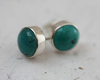 Turquoise Large Round Studs in Sterling Silver