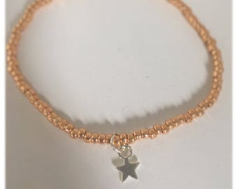 Rose gold seed beaded friendship bracelet