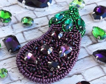 Handmade pin - stylish eggplant